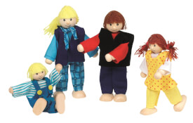 Biegepuppen junge Familie, 4 Personen, ca. 10-12 cm, ab 3 Jahren