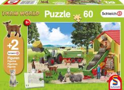 Schmidt Puzzle 56241 Schleich Heueinfahrt auf dem Bauernhof, 60 Teile, ab 5 Jahre