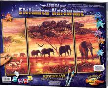 Simba Schipper Malen nach Zahlen - Elefanten Karawane (Triptchon) 50 x 80 cm